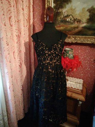 Vestido NUEVO encaje talla L marrón negro