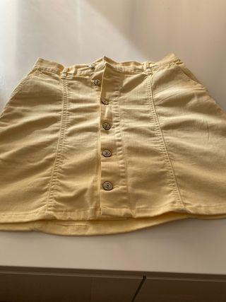 Falda amarilla de mango talla M