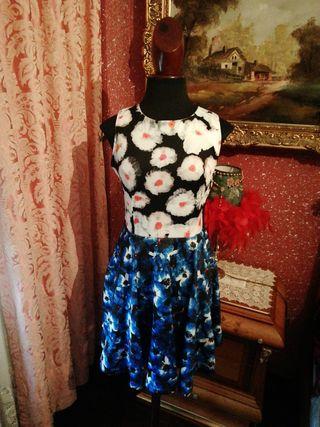 Vestido NUEVO talla S estampado flores azul naranj