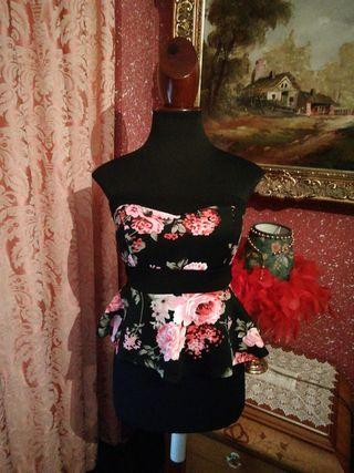 vestido talla M palabra de honor estampado flores
