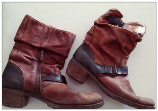 Botines de piel marrón Pikolinos
