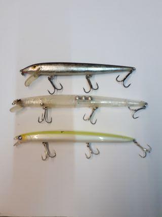 3 Señuelos Rapalas artificiales pesca.