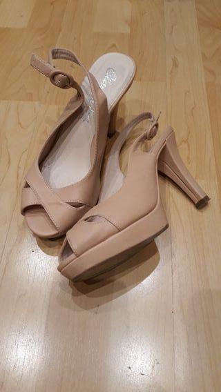 Zapato fiesta rosa palo tacón y plataforma