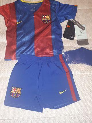 Equipación Vintage fútbol Barça bebe