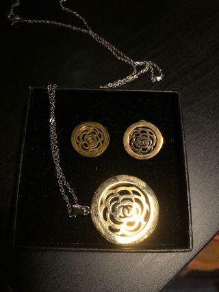 Pendientes y colgante de flor + pulsera lotus styl