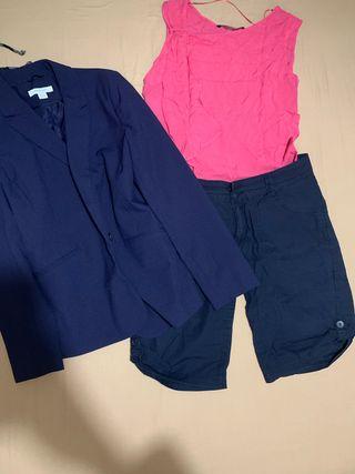 Conjunto bermuda + blusa + chaqueta
