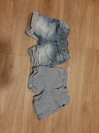 Lote pantalon corto 12-18 meses.