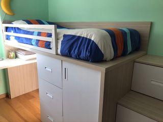 Cama elevada con armario y cajones