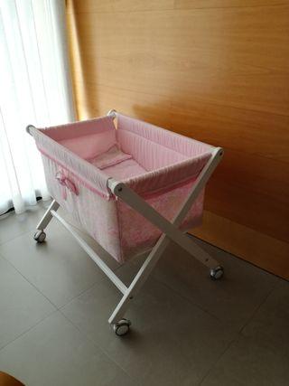 Minicuna de tijera rosa