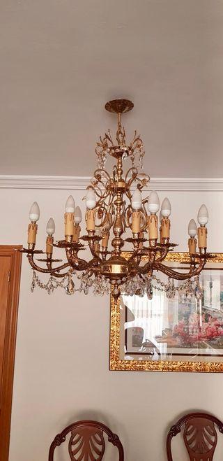 2 lámparas bronce con cristal de scrass.