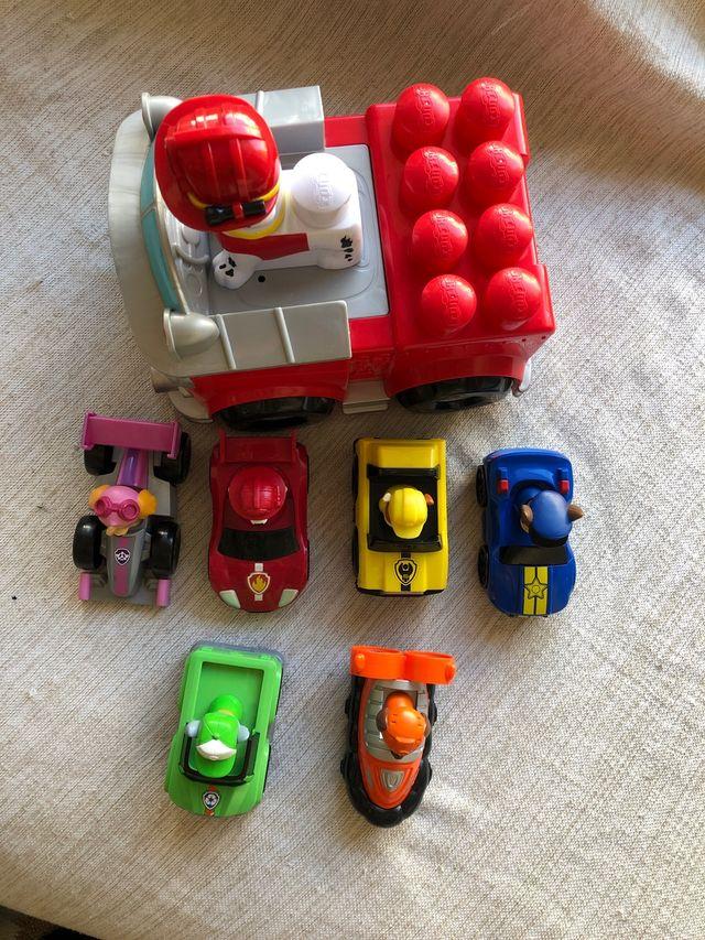 6 coches patrulla canina+ camion bombero marshall