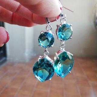 Pendientes ametrino bicolor azul