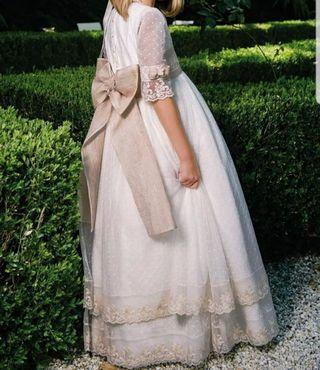 vestido comunion + cancán + tocado