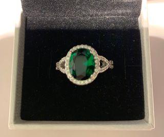 Anillo plata Cristal esmeralda con circonitas