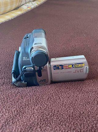 cámara de vídeo JVC con todos sus accesorios