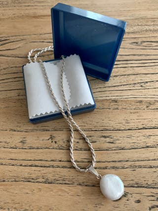 Collar plata primera ley con colgante de perla