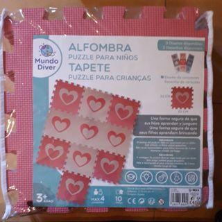 Alfombra puzzle para niños (azul y rosa)