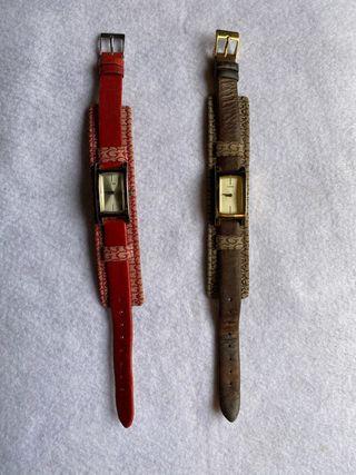 Oferta!! DOS relojes GUESS cuero/textil monogram