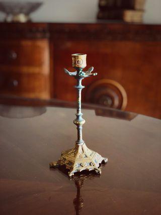 Antiguo candelabro bronce cobre
