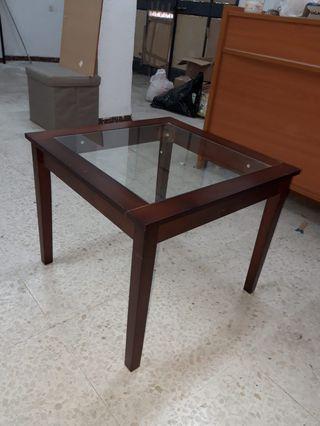 Mesa auxiliar cristal y madera maciza
