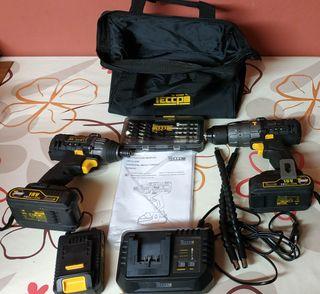 4 Baterías, Taladro y atornillador de impacto.