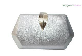 BOLSO DE FIESTA CLUTCH PLATA PLATEADO