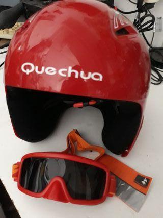 Casco de esquiar niño y gafas
