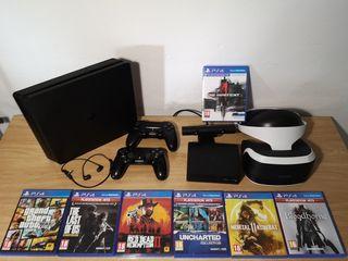 PS4 500Gb + 2 mandos + VR + cámara PS4 + JUEGOS