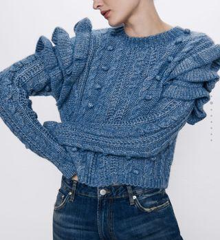 jersey volantes y borlones azul
