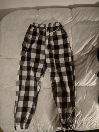 Pantalón traje cuadros elástico