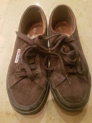 zapatillas superga ante marrón t.37