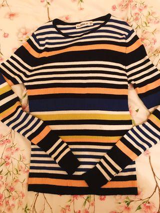 Jersey de canalé franjas de colores
