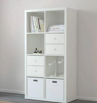 Estantería blanca sin accesorios 8 módulos mueble