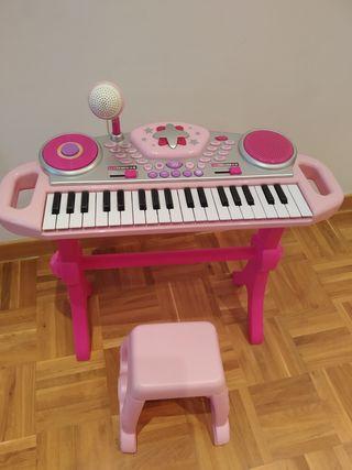 Teclado piano infantil rosa