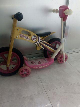 Bicicleta infantil y patinete