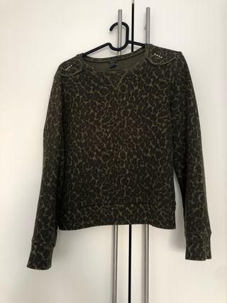 Sudadera jersey leopardo caqui Zara