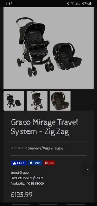 Graco Mirage ZigZag Pushchair with car seat unit