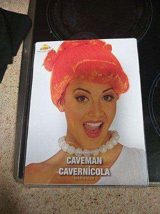 peluca naranja mujer cavernícola