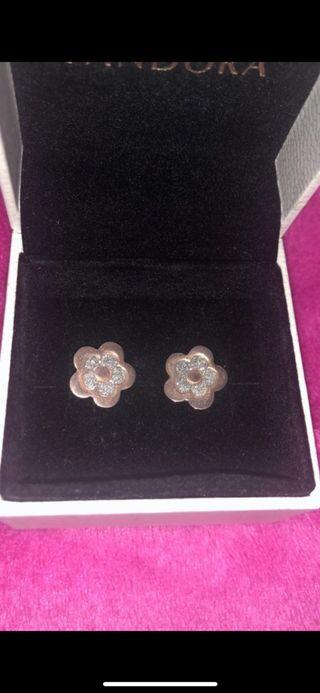 Pendientes flor plata rosa