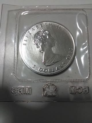 Moneda plata 999, de 5 dólares canadienses