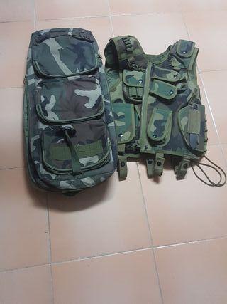 chaleco y mochila Airsoft