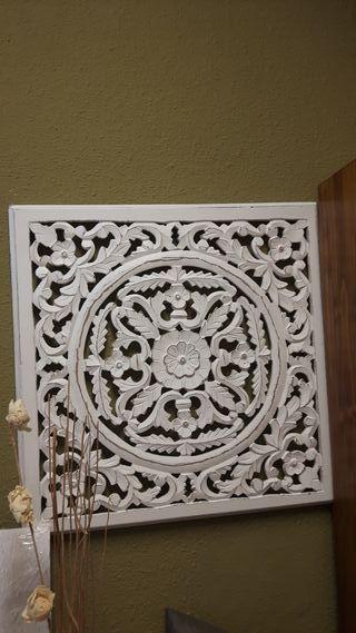 cuadro blanco relieves