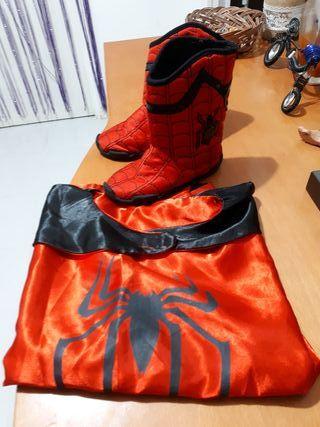 botas y capa disfraz Spiderman, Nuevo!!!