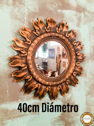 Espejo Sol Barroco 40cm Diámetro Dorado Envejecido