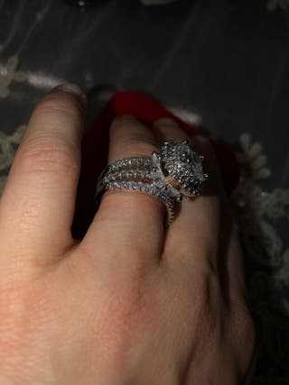 925 silver cluster ring size o