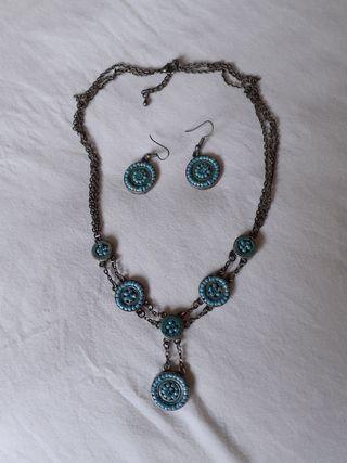 conjunto collar y pendientes hippie azul turquesa