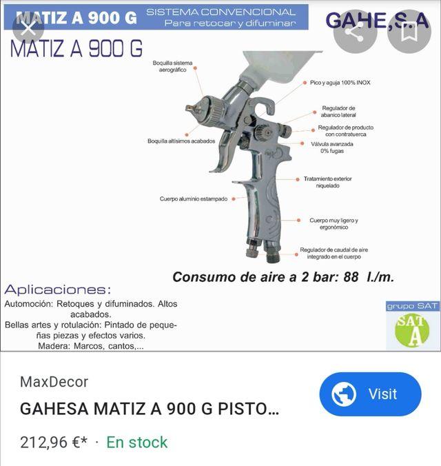 pistola aerografo Gahe Matiz A900G