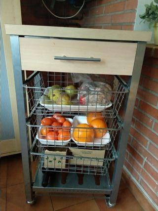 Carro fruta y verduras con cajon y ruedas