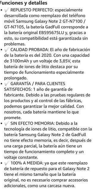 Batería reemplazo Samsung Galaxy Note 2 precintada