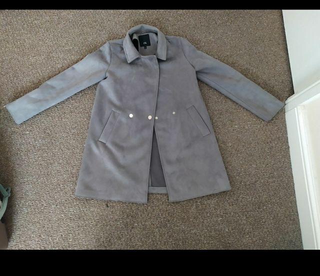 worn gray suede fur coat Oversized